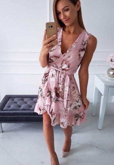 Sukienka FLORENCIA PUDROWA W KWIATY
