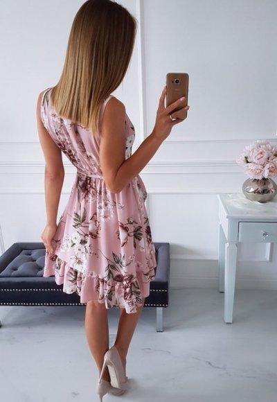 Sukienka FLORENCIA PUDROWA W KWIATY 1