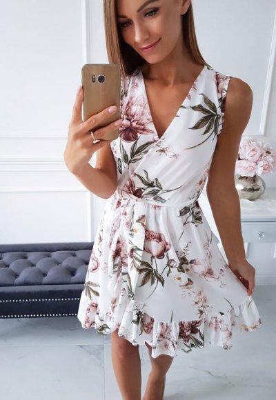 Sukienka FLORENCIA biała W KWIATY
