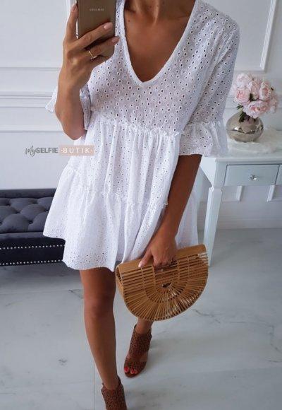 Sukienka AMELIA biała ażurowa