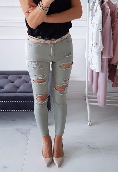 Spodnie SLIM oliwkowe