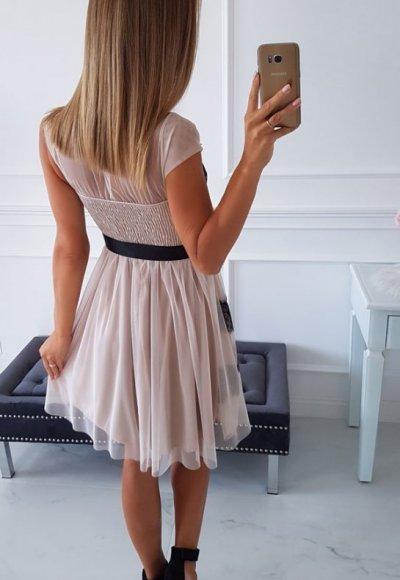 Sukienka PILARO beżowa z czarną koronką 2