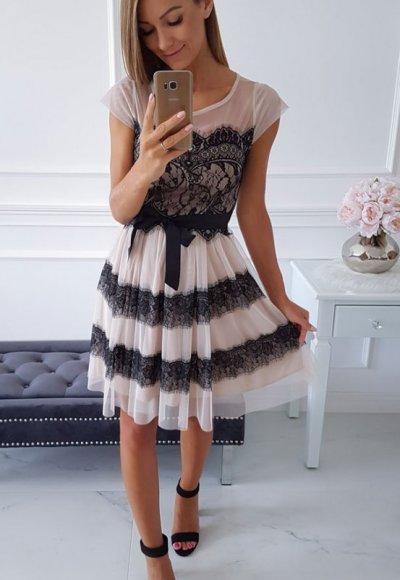 Sukienka PILARO beżowa z czarną koronką 1