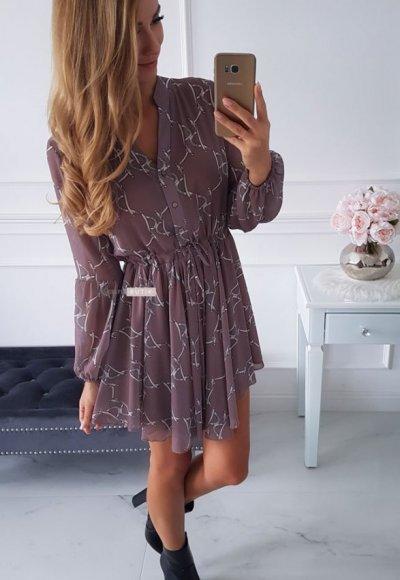 Sukienka MOSCOW mocca we wzory