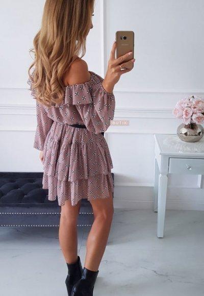 Sukienka ISABELLA mocca we wzory 1