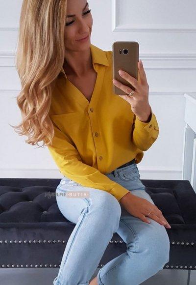 Koszula POCKET musztardowa