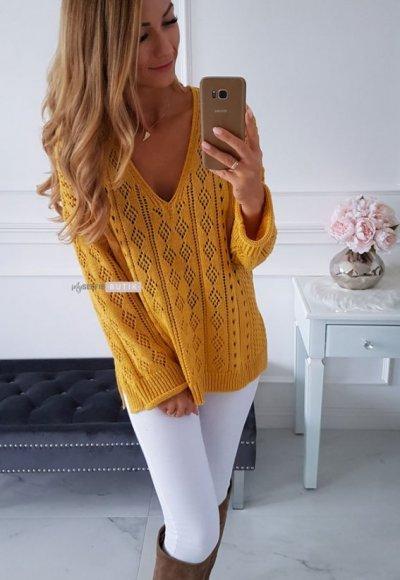 Sweter IBIZA musztardowy