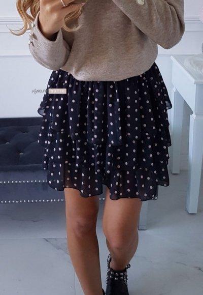 Spódnica FALL czarna w beżowe kropeczki