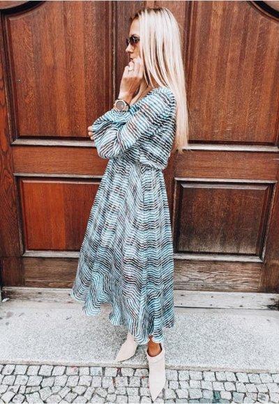 Sukienka AUGUST w turkusowo czarny zygzak 2