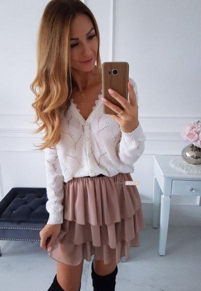 Sweter ażurowy RENEE biały