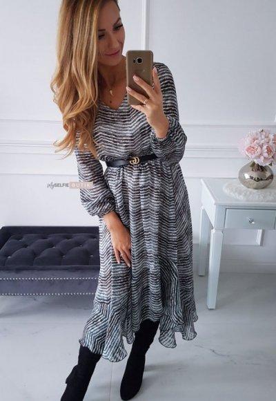 Sukienka AUGUST w turkusowo czarny zygzak 3