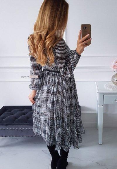 Sukienka AUGUST w turkusowo czarny zygzak 5