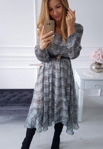 Sukienka AUGUST w turkusowo czarny zygzak 6