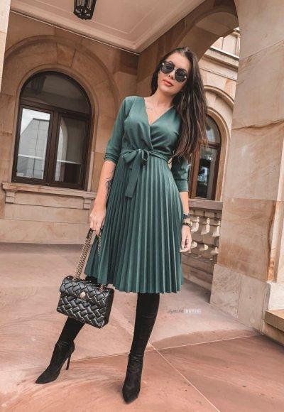 Sukienka VIVIENNE zieleń butelkowa