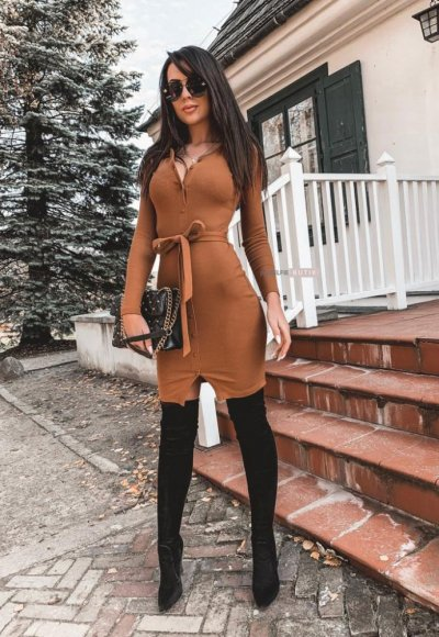 Sukienka NOVA Karmelowa