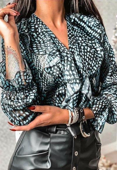 Koszula MARRY turkusowo-czarna