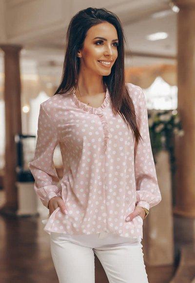 Koszula VANILLA pudrowa w białe grochy