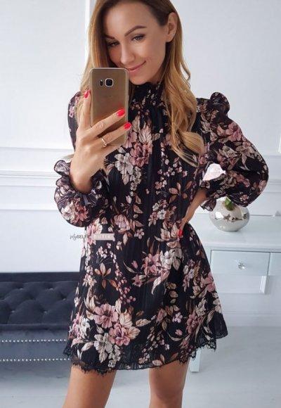 Sukienka LUNA czarna w pudrowe kwiaty