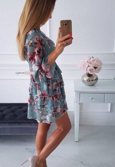 Sukienka LAURA miętowa w kwiatowy wzór 1
