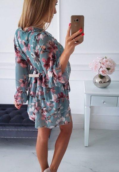 Sukienka LAURA miętowa w kwiatowy wzór 2