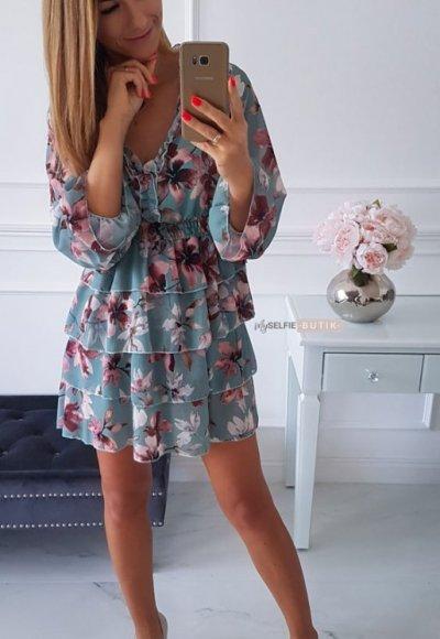 Sukienka LAURA miętowa w kwiatowy wzór 3