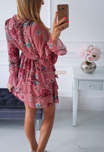 Sukienka LAURA różowa w kwiatowy wzór 1
