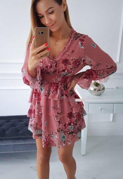 Sukienka LAURA różowa w kwiatowy wzór 2