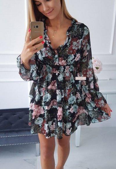 Sukienka LAURA czarna w kwiatowy wzór