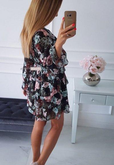 Sukienka LAURA czarna w kwiatowy wzór 1