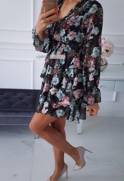 Sukienka LAURA czarna w kwiatowy wzór 2