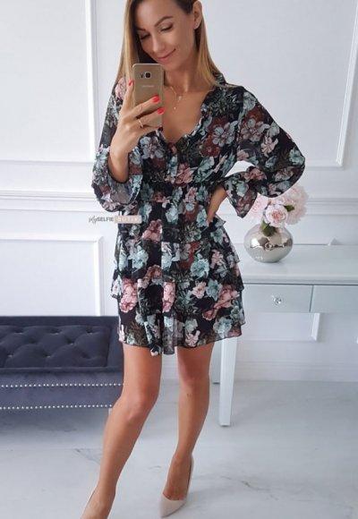 Sukienka LAURA czarna w kwiatowy wzór 3