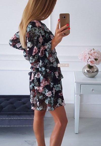 Sukienka LAURA czarna w kwiatowy wzór 4
