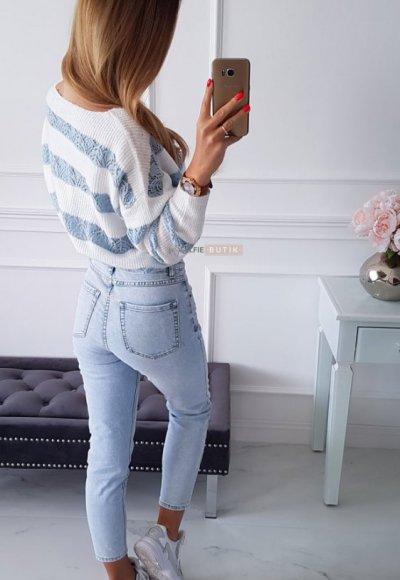 Sweter RENEE w niebieskie pasy 1