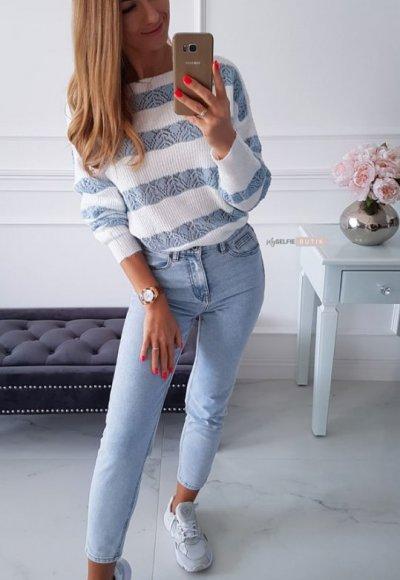 Sweter RENEE w niebieskie pasy 3