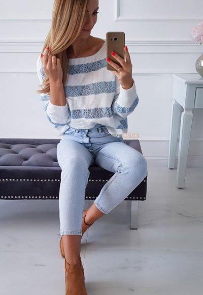 Sweter RENEE w niebieskie pasy 4