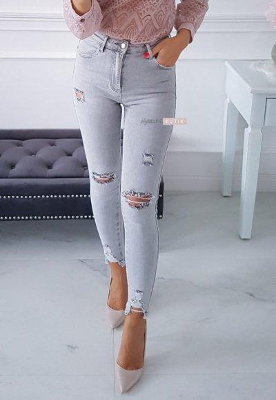 Spodnie z przetarciami TOYA grey jeans