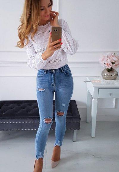 Spodnie z przetarciami TOYA blue jeans