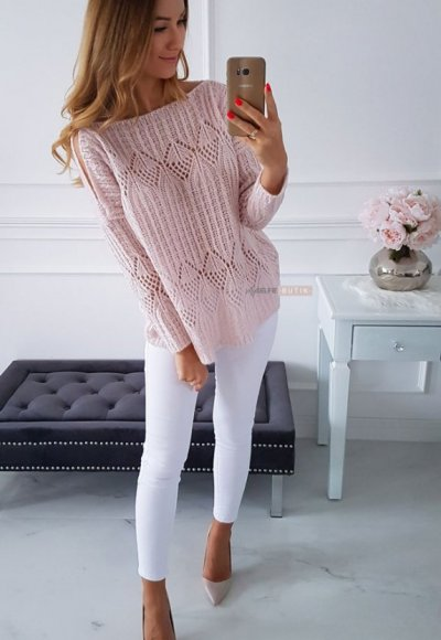 Sweter EMILY pudrowy 1