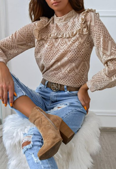 Bluzka BRIDGET beige lace