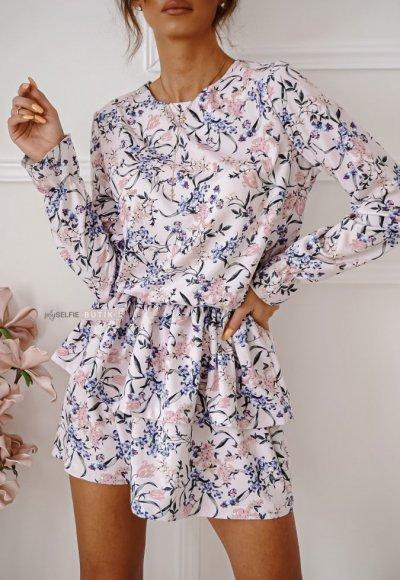 Sukienka LOE wrzosowa w kwiatowy wzór