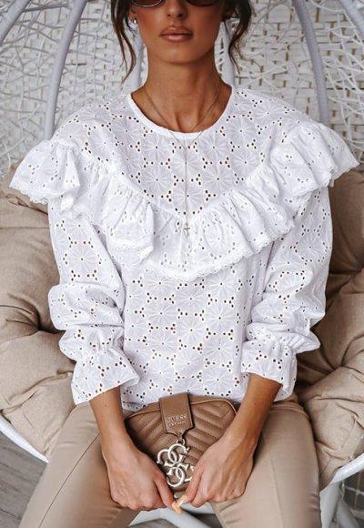 Bluzka VIKI biała ażurowa
