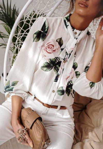 Koszula MARYLAND biała w kwiaty