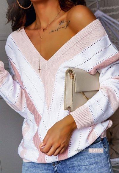 Sweter STRIPES biało- różowe pasy