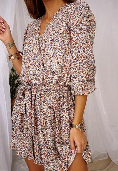 Sukienka LUNA biała w drobne kwiaty