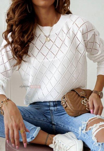 Sweter ROMBY biały