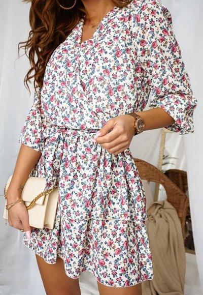 Sukienka LUNA biała w kolorowe kwiaty