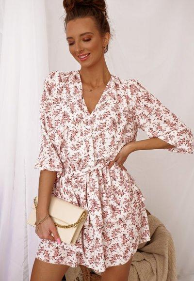 Sukienka LAURA biała w różowe kwiatuszki