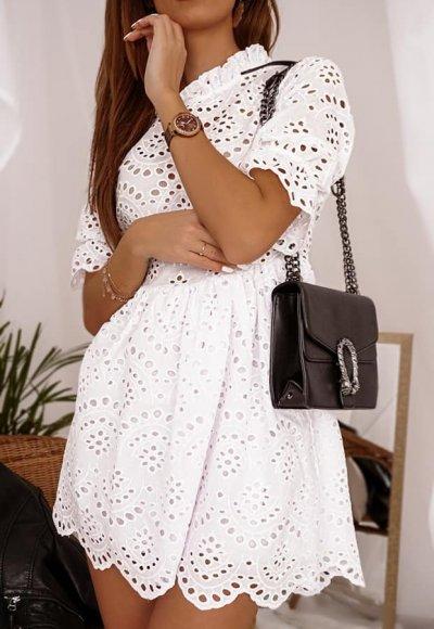 Sukienka SAVONA biała ażurowa