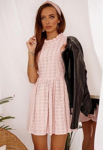 Sukienka SAVONA różowa ażurowa