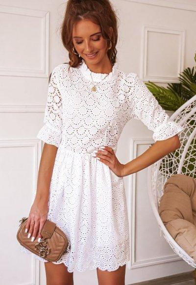 Sukienka BALI biała ażurowa